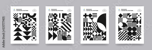 Abstract geometric shapes pattern, Bauhaus background. Trendy modern circle, triangle and square Bauhaus pattern backgrounds, posters and covers art design