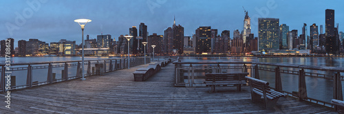 Panorama of Gantry Plaza State Park in Long Island City, Queens, New York in ear Fototapeta