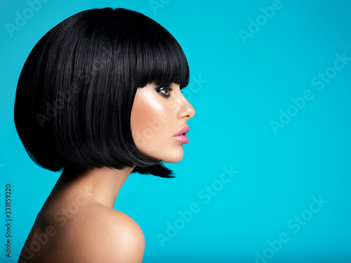 Fotomural Glamour fashion model with black gloss make-up