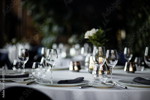 Beautiful table set for an event party or wedding reception Fototapeta