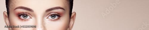 Valokuva Female Eye with Extreme Long False Eyelashes