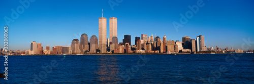Fotografie, Obraz Panoramic view of lower Manhattan and Hudson River, New York City skyline, NY wi