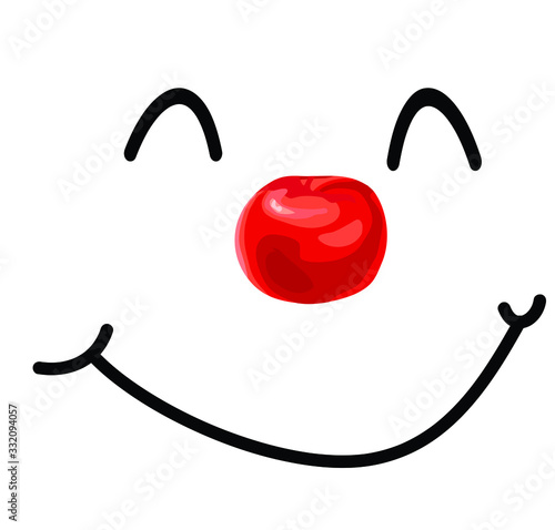 cute clown red nose smiling face isolated on white background laugt icon Fototapeta