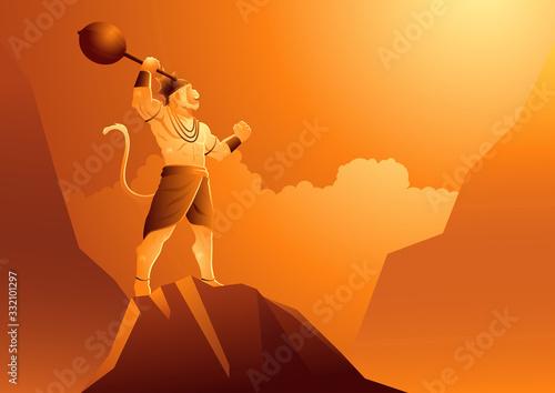 Wallpaper Mural Hanuman standing on mountain
