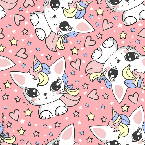 Seamless pattern with unicorn cats on a pink background. Vector