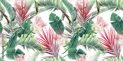 Seamless floral pattern with tropical flowers and leaves on light background. Template design for textiles, interior, clothes, wallpaper. Watercolor illustration