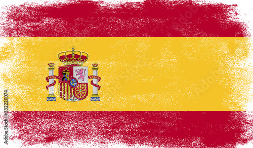 Photo Spain flag with grunge texture