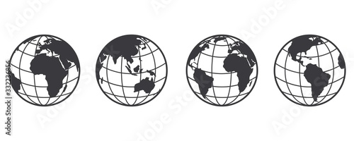 Earth globe icon set. earth hemispheres with continents. world map in globe shape isolated on white background. vector #332236856