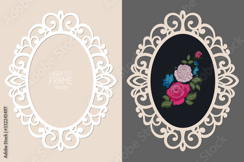 Foto Laser cut lace oval frame, vector template