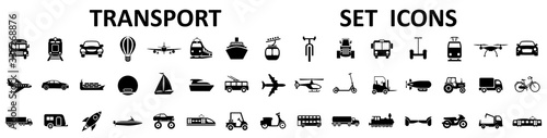 Transport, vehicle and delivery icons set. Flat shipping delivery symbols – stock vector