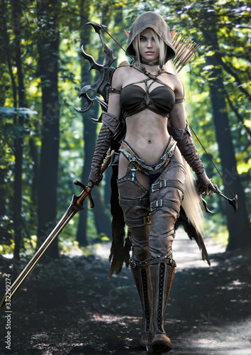 Fototapeta Portrait of a stunning exotic hooded fantasy elf female warrior with white long hair walking toward the camera, equipped with a sword and bow and arrow for weapons