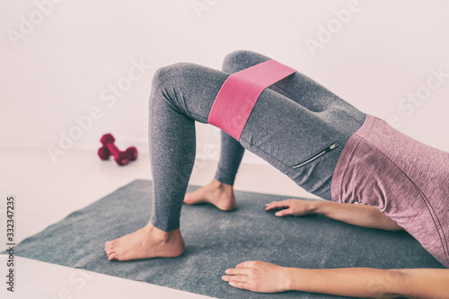 Stampa su Tela Fitness at home resistance elastic bands leg workout exercise for thighs and glutes hip bridge abduction
