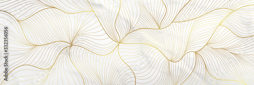 Luxury golden  wallpaper.  Abstract gold line arts texture with green emerald...