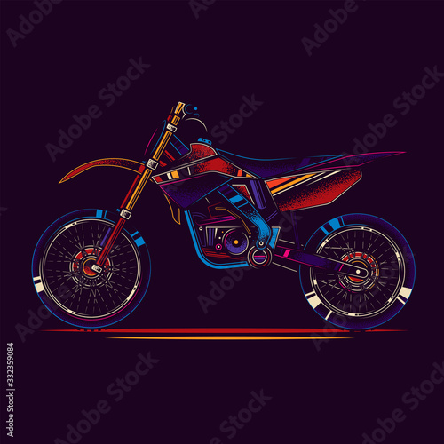Canvas Print Original vector illustration in neon style