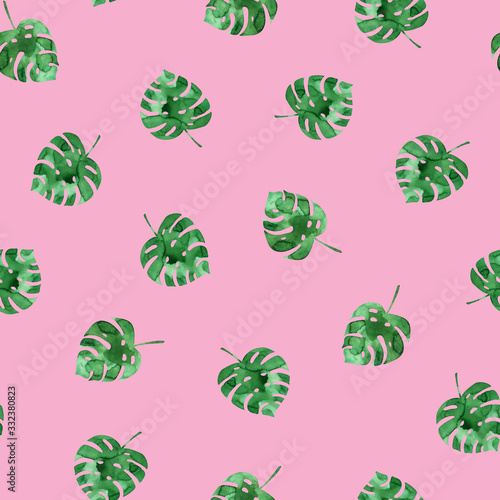 Canvas-taulu Seamless pattern with watercolor monstera leaves