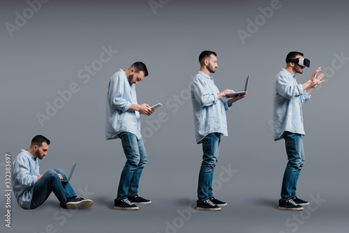 collage of bearded man using gadgets on grey, evolution concept Fototapet