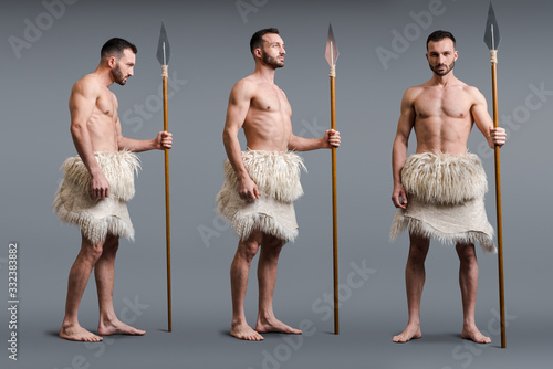 Fotografia collage of muscular caveman with spear on grey, evolution concept