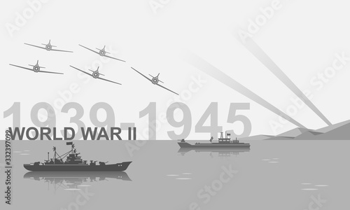 Canvas Print World War II 1939-1945 black and white vector illustration