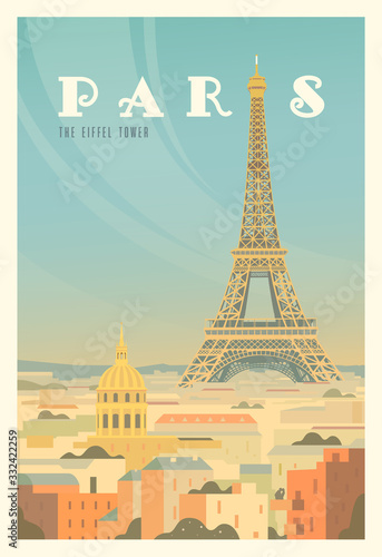 The Eiffel tower, trees. Time to travel. Around the world. Quality vector poster. France.