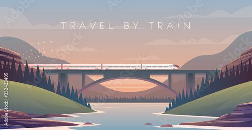 Photo steam locomotive, vacation, mountain landscape, railway, adventure