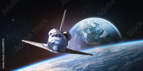 Canvas Print Space shuttle on orbit of the Earth