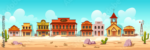 Western town with old wooden buildings. Wild west desert landscape with cactuses. Vector cartoon illustration of wild west city street with catholic church, saloon, sheriff office, bank and hotel