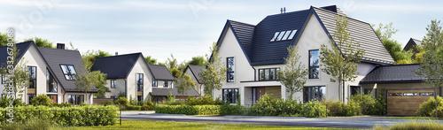 Obraz na płótnie Street of beautiful residential houses