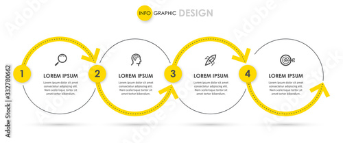 Canvas Print Vector Infographic design with icons and 4 options or steps