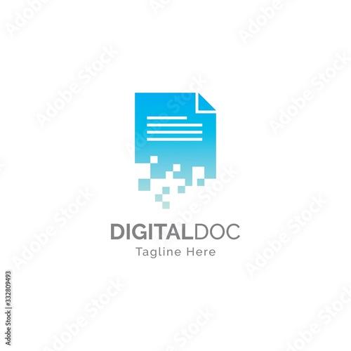 Digital document logo illustration  design vector template Fototapet