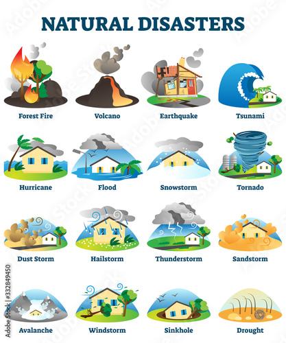 Obraz na plátně Natural disasters vector illustration