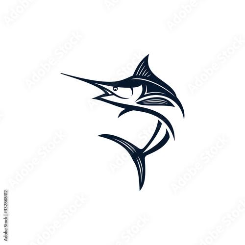 Marlin fish logo design Fototapeta