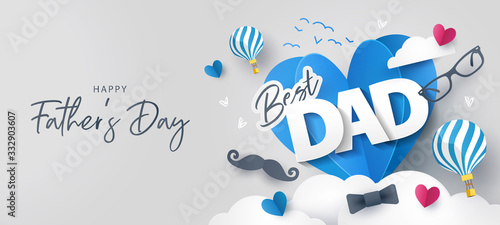 Happy Father's Day greeting card, banner, poster or flyer design with flying origami hearts over clouds with air balloons, paper mustache, glasses and bow tie. Paper art, digital craft style.