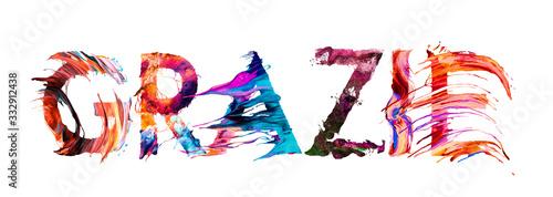 Fotografia Grazie - lettere multicolori in italiano - Thank you in Italian