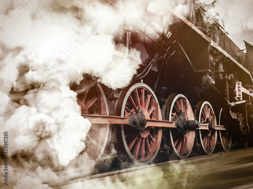 Canvas Print vintage trains with a steam on the move
