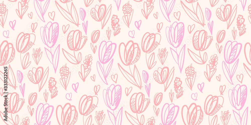 Sketch pale color spring tulip seamless pattern <span>plik: #333122265   autor: galyna_p</span>