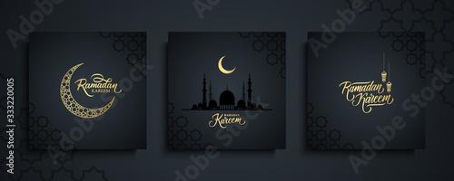 Vászonkép Ramadan Kareem greeting cards set