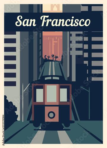 Fotografia, Obraz Retro poster San Francisco city skyline vintage, vector illustration
