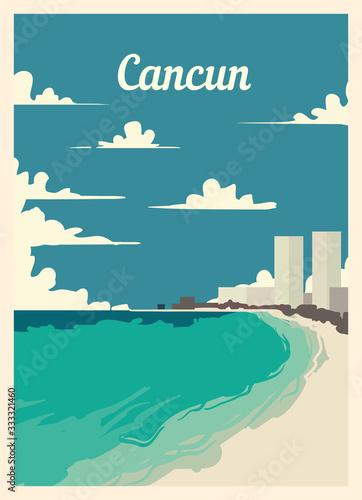 Fototapeta Retro poster Cancun city skyline vintage, vector illustration.
