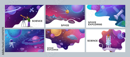 Foto Four colorful Space and Science poster designs showing an astronomer, spaceman r