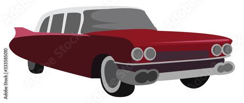 Billede på lærred Retro cadillac, illustration, vector on white background