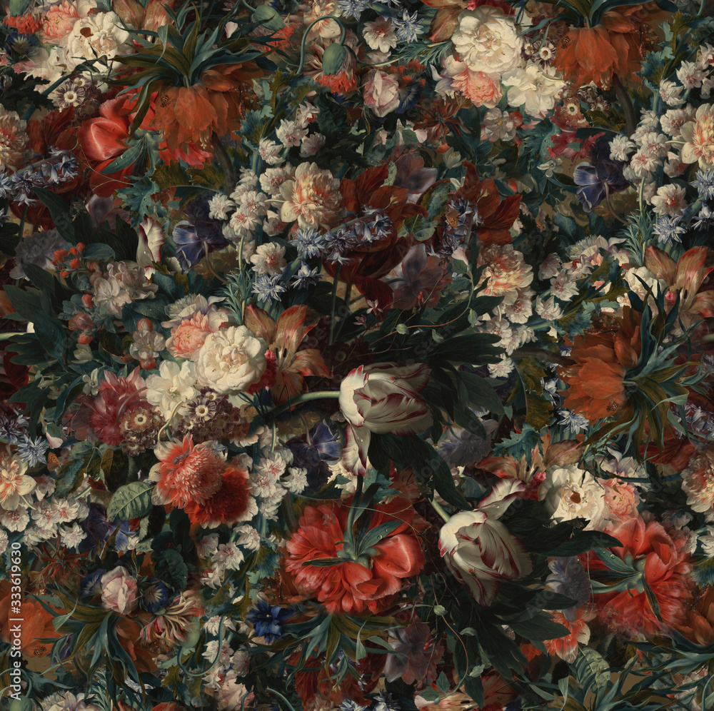 Classic wallpaper style of various flowers