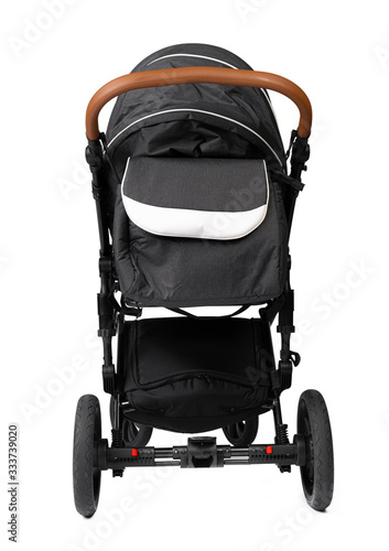 Fotografia Black baby carriage isolated on a white background