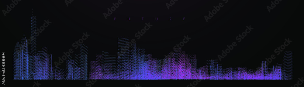 Night city illustration with neon glow colors. illustration with architecture, skyscrapers, megapolis, buildings, downtown. Landscape template background. Color art line vector <span>plik: #333836894 | autor: Archreactor</span>