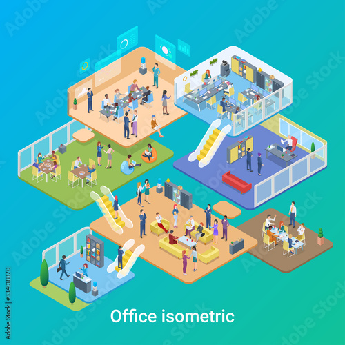 Isometric Office life People working vector flat design illustration