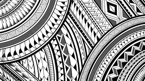 Obraz na plátně 8K Maori Polynesian pattern design illustrations on a white background