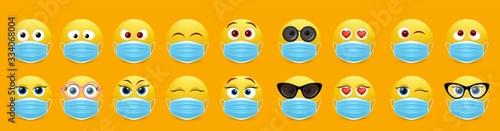 Corona virus face mask emoji set, vector isolated illustration