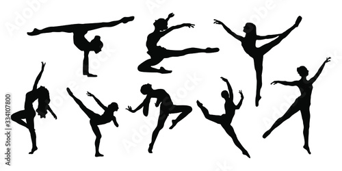 Women ballet dancer silhouette collection with styles and pose Fotobehang