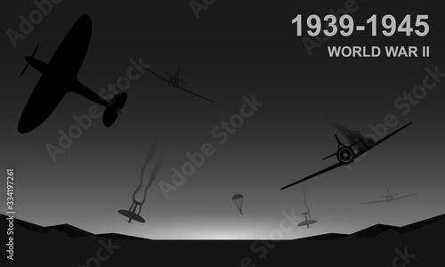 Fotografía World War II 1939-1945 black and white vector illustration