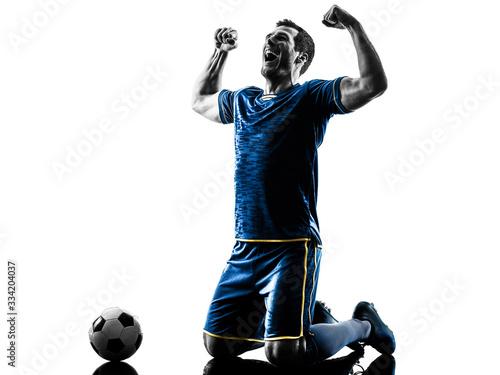 soccer player man happy celebration silhouette isolated Fototapeta
