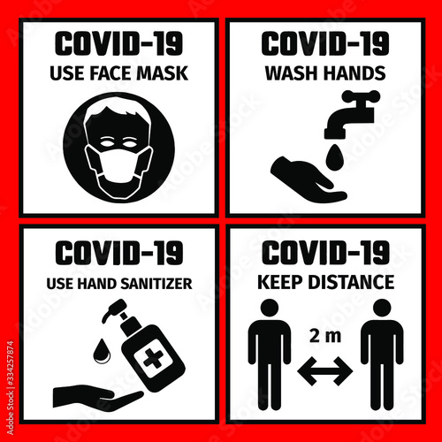 Fotografia 4 signs with the safety rules for the prevention of coronavirus
